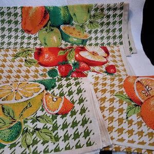 VTG Lemon Apple Pepper Linen Kitchen Towels Set 4